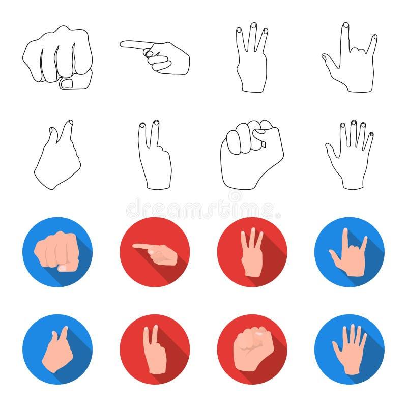 Ouvrez le poing, victoire, avare Icônes réglées de collection de geste de main dans le contour, Web plat d'illustration d'actions illustration stock