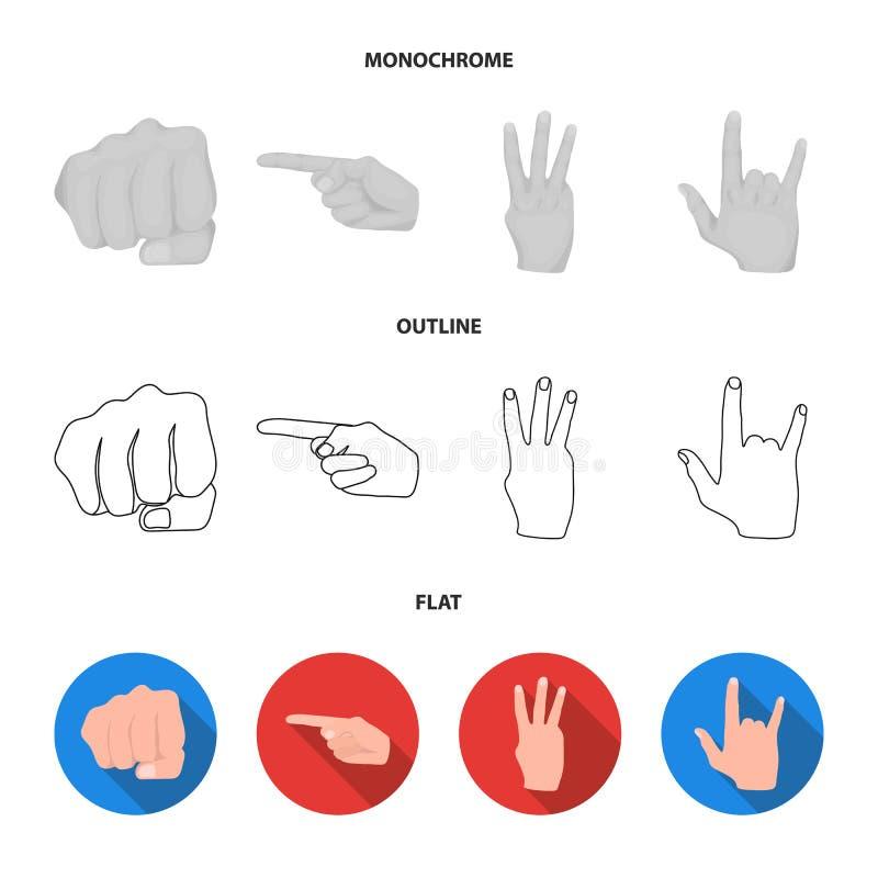 Ouvrez le poing, victoire, avare Icônes réglées de collection de geste de main dans l'appartement, contour, actions monochromes d illustration stock