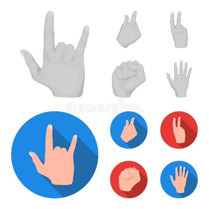 Ouvrez le poing, victoire, avare Icônes réglées de collection de geste de main dans l'illustration monochrome et plate d'actions  illustration de vecteur