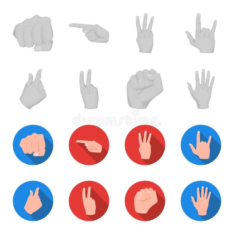 Ouvrez le poing, victoire, avare Icônes réglées de collection de geste de main dans l'illustration monochrome et plate d'actions  illustration libre de droits