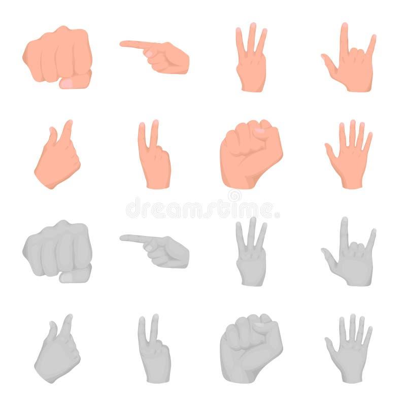 Ouvrez le poing, victoire, avare Icônes réglées de collection de geste de main dans la bande dessinée, actions monochromes de sym illustration libre de droits