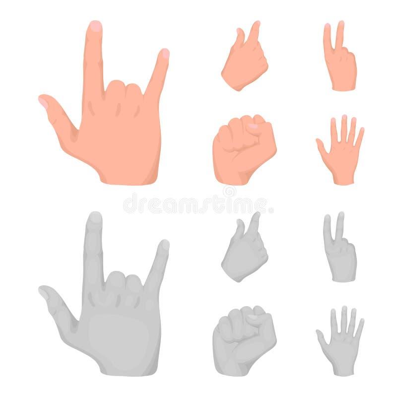Ouvrez le poing, victoire, avare Icônes réglées de collection de geste de main dans la bande dessinée, actions monochromes de sym illustration stock