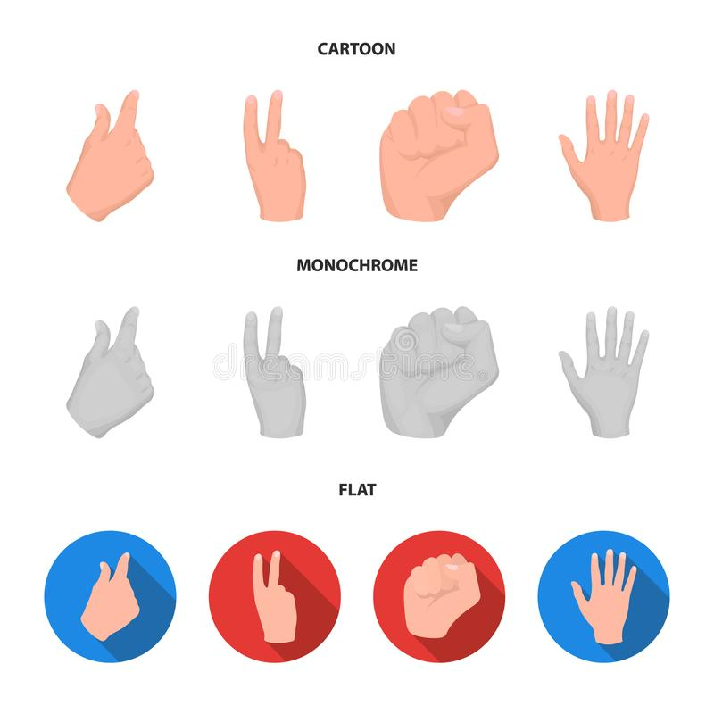 Ouvrez le poing, victoire, avare Icônes réglées de collection de geste de main dans la bande dessinée, actions plates et monochro illustration de vecteur