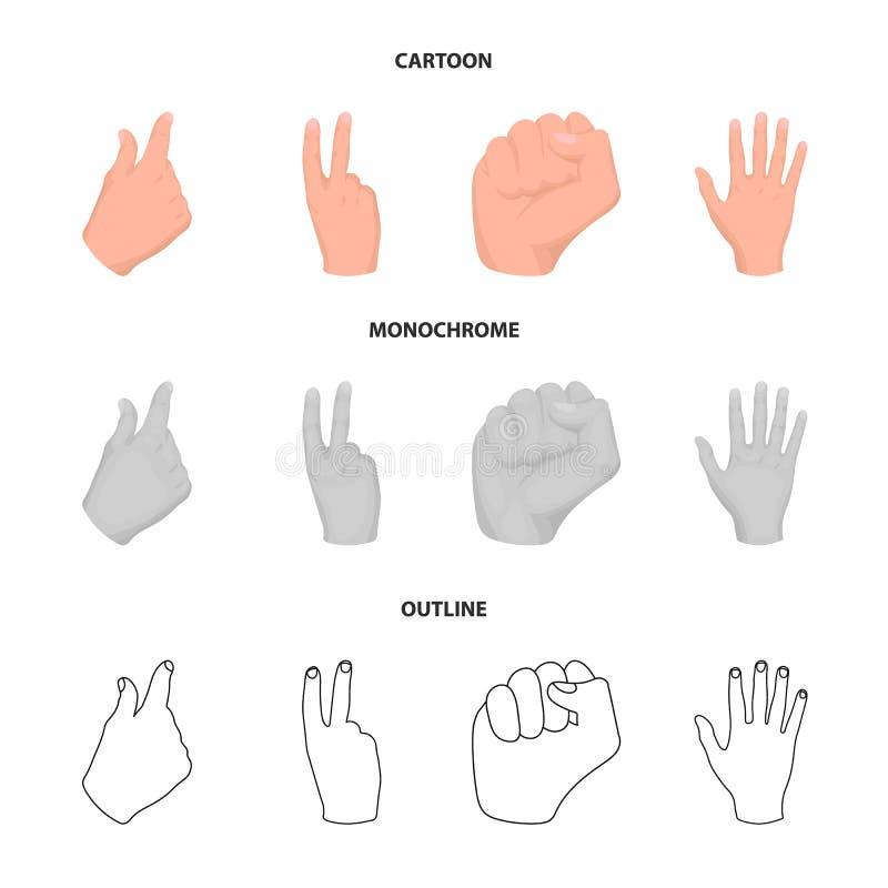 Ouvrez le poing, victoire, avare Icônes réglées de collection de geste de main dans la bande dessinée, contour, actions monochrom illustration libre de droits