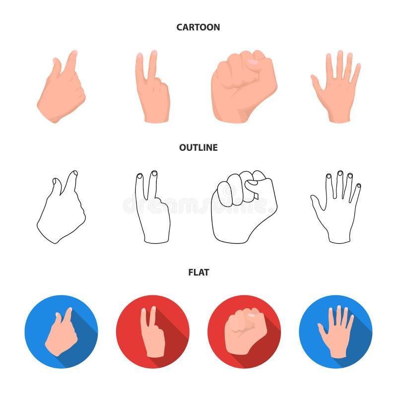 Ouvrez le poing, victoire, avare Icônes réglées de collection de geste de main dans la bande dessinée, contour, actions plates de illustration de vecteur