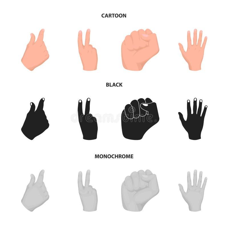 Ouvrez le poing, victoire, avare Icônes réglées de collection de geste de main dans la bande dessinée, noir, actions monochromes  illustration stock