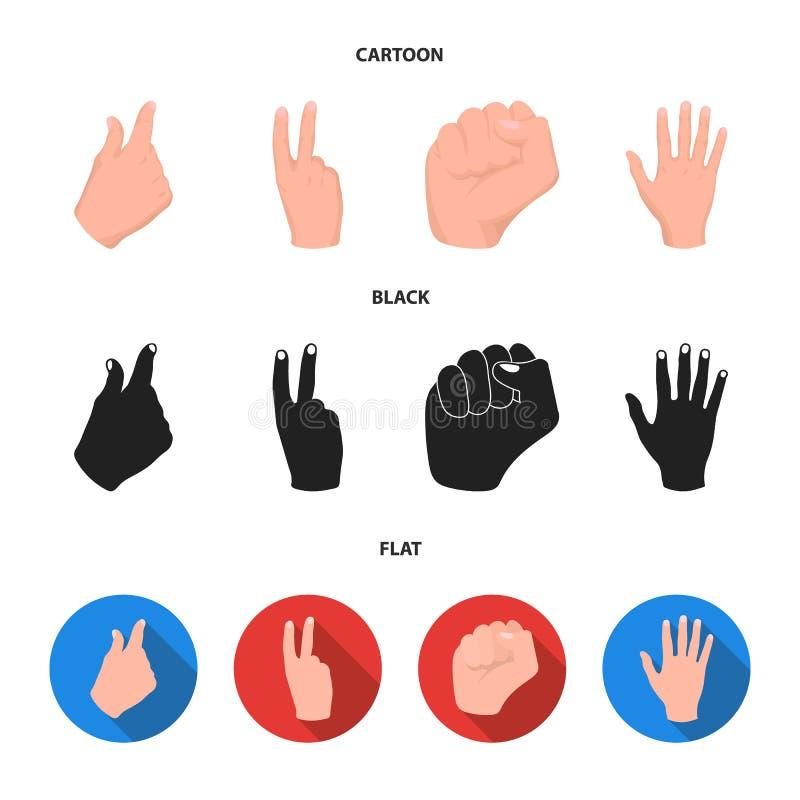 Ouvrez le poing, victoire, avare Icônes réglées de collection de geste de main dans la bande dessinée, noir, actions plates de sy illustration stock