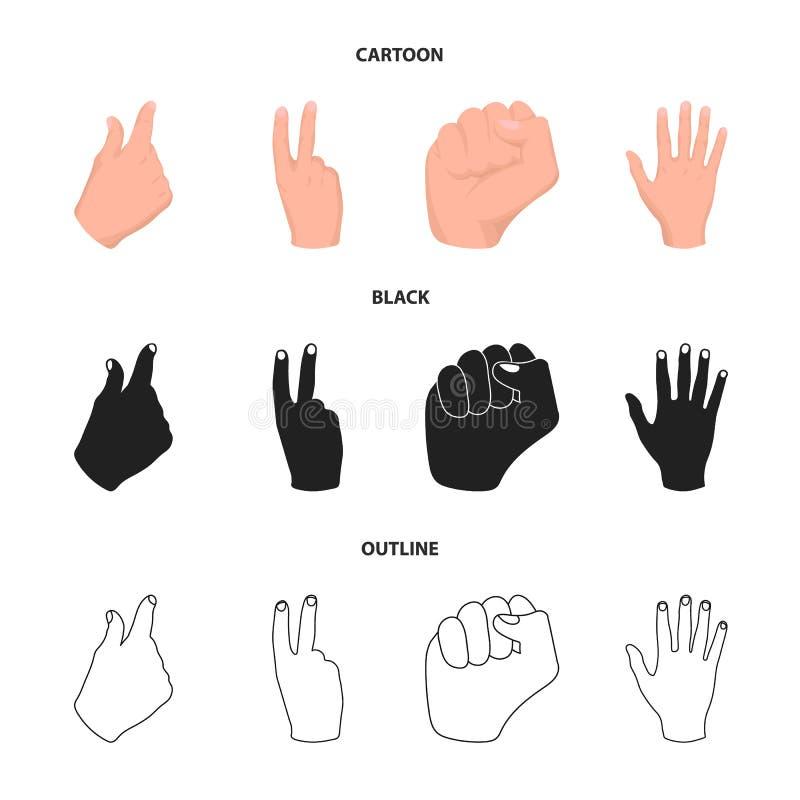 Ouvrez le poing, victoire, avare Icônes réglées de collection de geste de main dans la bande dessinée, noir, actions de symbole d illustration stock