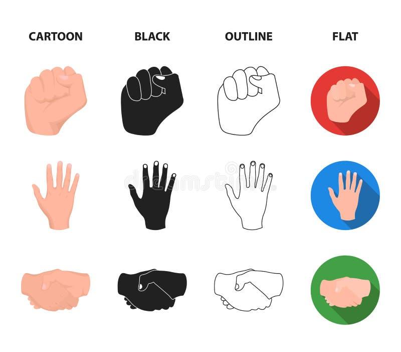 Ouvrez le poing, victoire, avare Icônes réglées de collection de geste de main dans la bande dessinée, noir, contour, actions pla illustration libre de droits