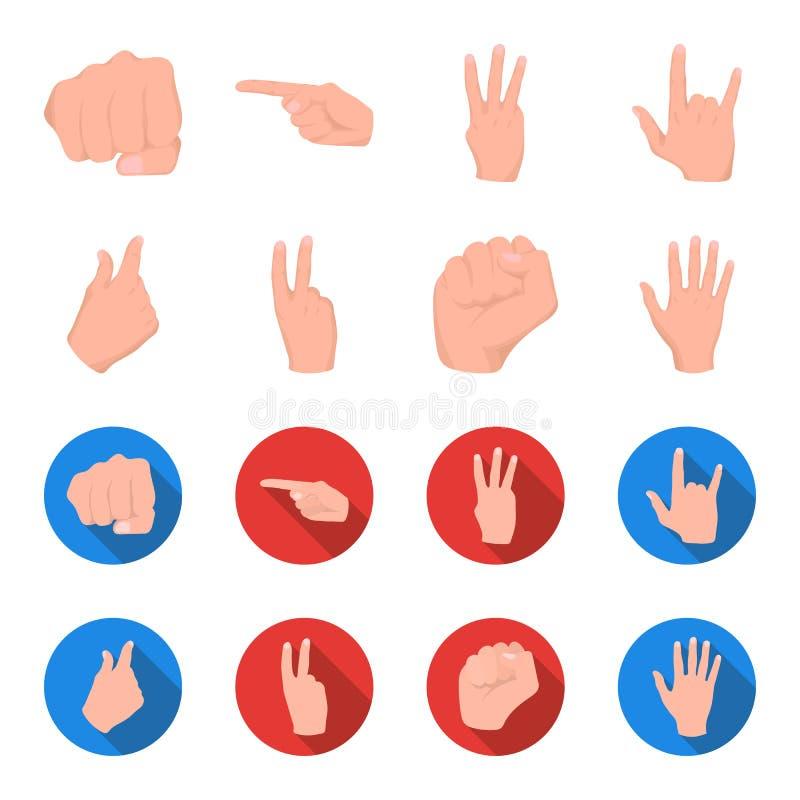 Ouvrez le poing, victoire, avare Icônes réglées de collection de geste de main dans la bande dessinée, Web plat d'illustration d' illustration de vecteur