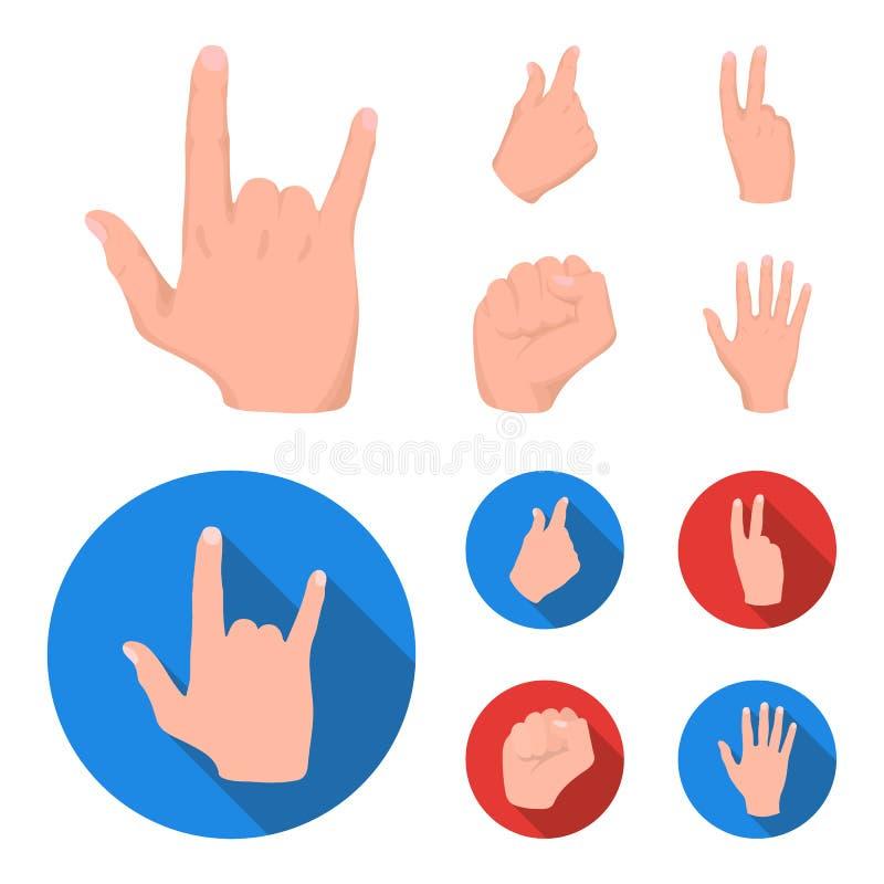Ouvrez le poing, victoire, avare Icônes réglées de collection de geste de main dans la bande dessinée, Web plat d'illustration d' illustration libre de droits