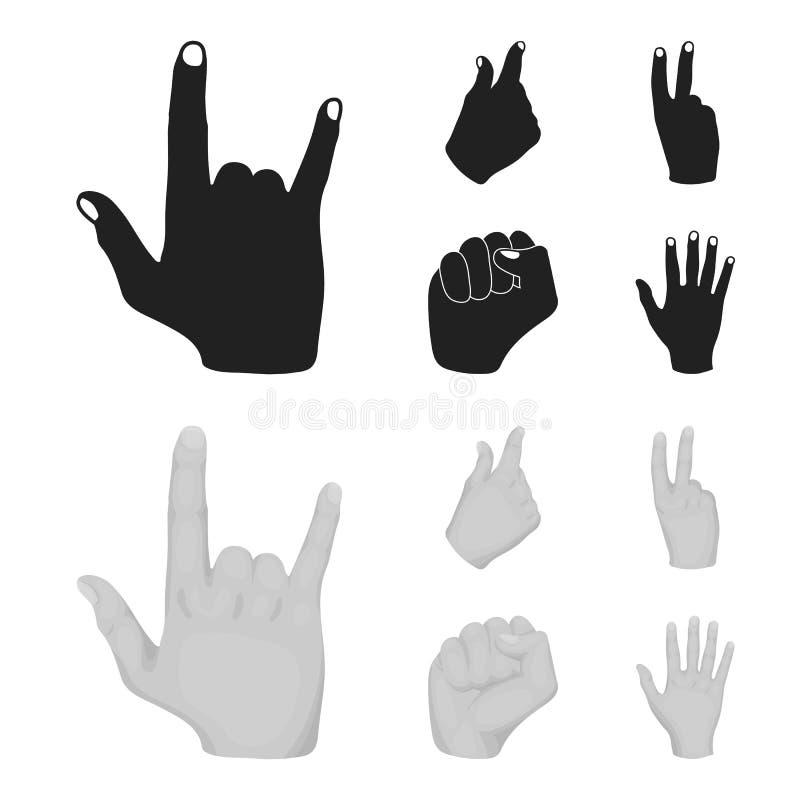 Ouvrez le poing, victoire, avare Icônes réglées de collection de geste de main dans le noir, illustration d'actions de symbole de illustration de vecteur