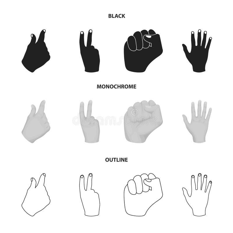 Ouvrez le poing, victoire, avare Icônes réglées de collection de geste de main dans noir, monochrome, actions de symbole de vecte illustration de vecteur