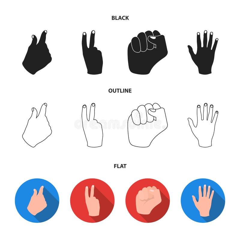 Ouvrez le poing, victoire, avare Icônes réglées de collection de geste de main dans noir, plat, actions de symbole de vecteur de  illustration stock
