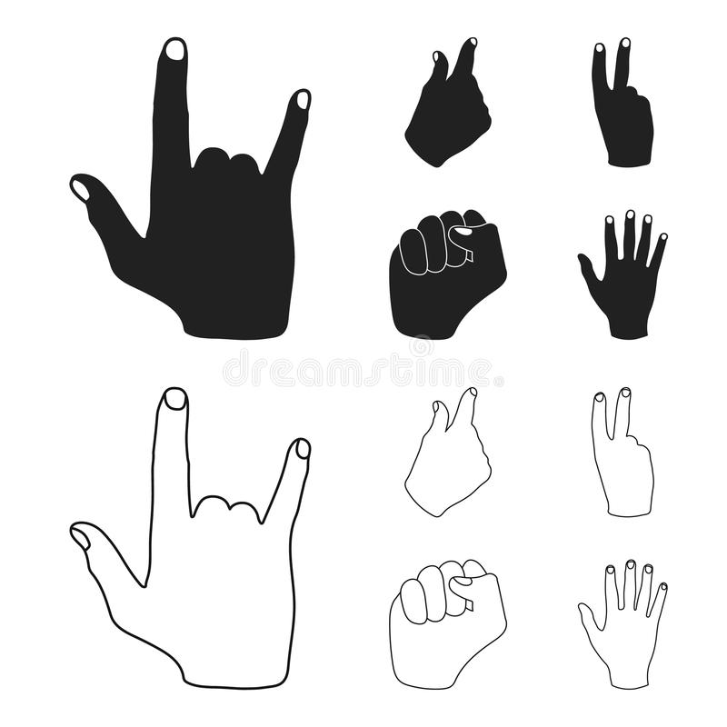 Ouvrez le poing, victoire, avare Icônes réglées de collection de geste de main dans le noir, Web d'illustration d'actions de symb illustration stock
