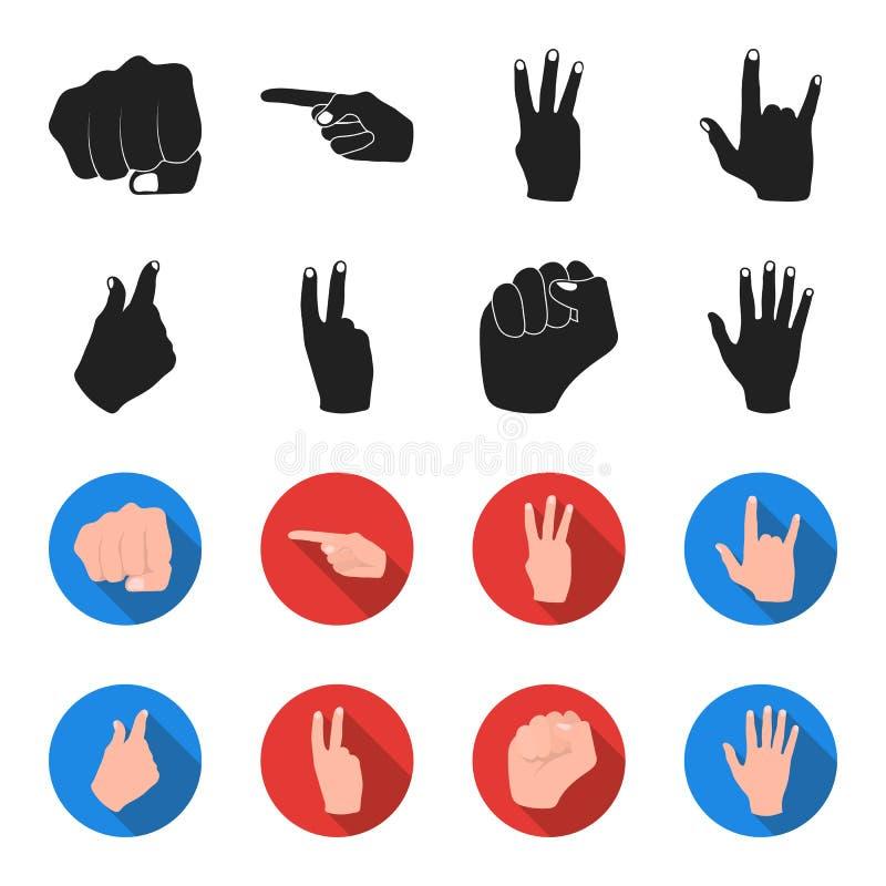 Ouvrez le poing, victoire, avare Icônes réglées de collection de geste de main dans le noir, Web d'illustration d'actions de symb illustration libre de droits