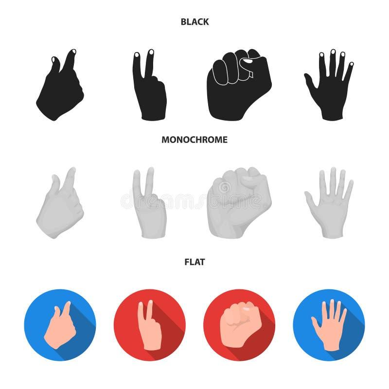 Ouvrez le poing, victoire, avare Icônes réglées de collection de geste de main en stock noir, plat, monochrome de symbole de vect illustration libre de droits