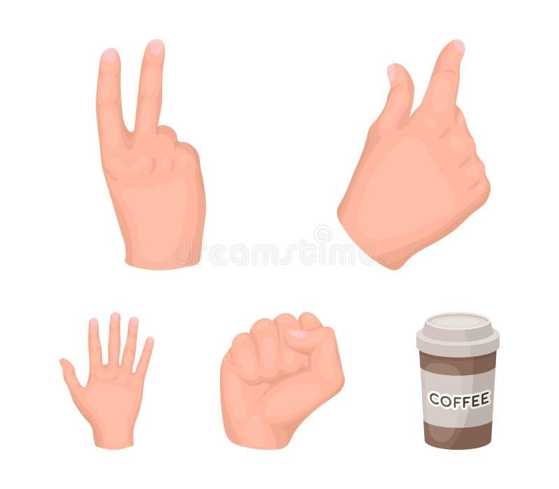 Ouvrez le poing, victoire, avare Les icônes réglées de collection de geste de main dans le style de bande dessinée dirigent le We illustration libre de droits