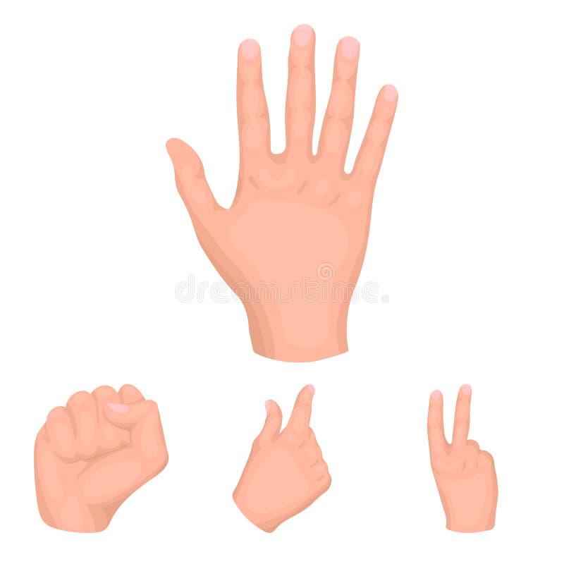 Ouvrez le poing, victoire, avare Les icônes réglées de collection de geste de main dans le style de bande dessinée dirigent le We illustration stock
