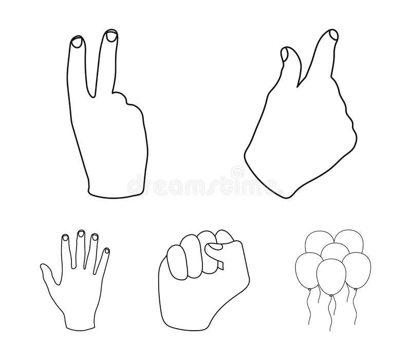 Ouvrez le poing, victoire, avare Les icônes réglées de collection de geste de main dans le style d'ensemble dirigent le Web coura illustration libre de droits