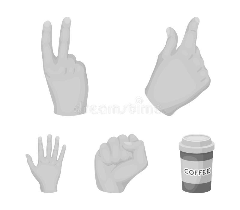 Ouvrez le poing, victoire, avare Les icônes réglées de collection de geste de main dans le style monochrome dirigent le Web coura illustration libre de droits