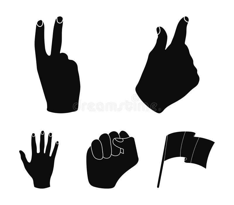 Ouvrez le poing, victoire, avare Les icônes réglées de collection de geste de main dans le style noir dirigent le Web courant d'i illustration stock
