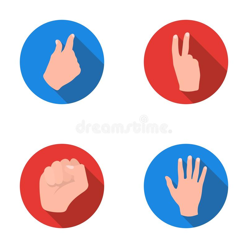 Ouvrez le poing, victoire, avare Les icônes réglées de collection de geste de main dans le style plat dirigent le Web courant d'i illustration de vecteur