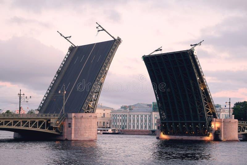 Ouvrez le pont de palais de la rivière de Neva image libre de droits