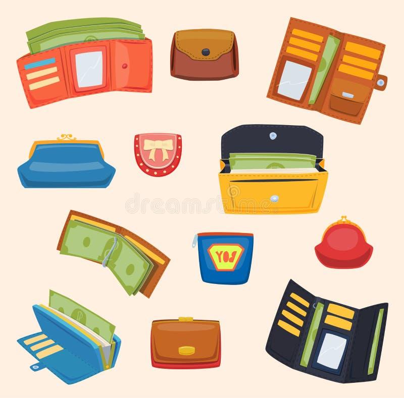 Ouvrez le portefeuille en cuir de bourse avec des achats d'argent L'achat de achat changent le cuir de devise d'affaires ouvrent  illustration de vecteur