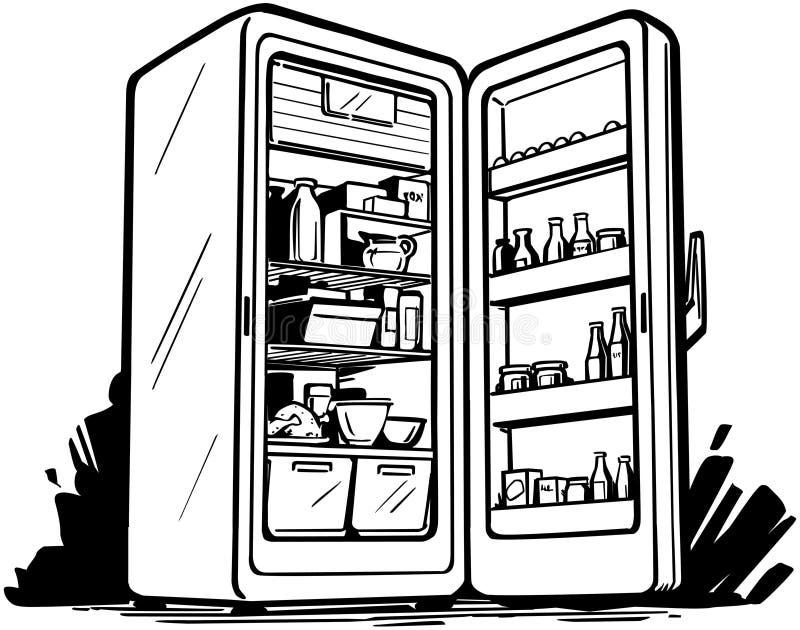 Ouvrez le réfrigérateur illustration de vecteur