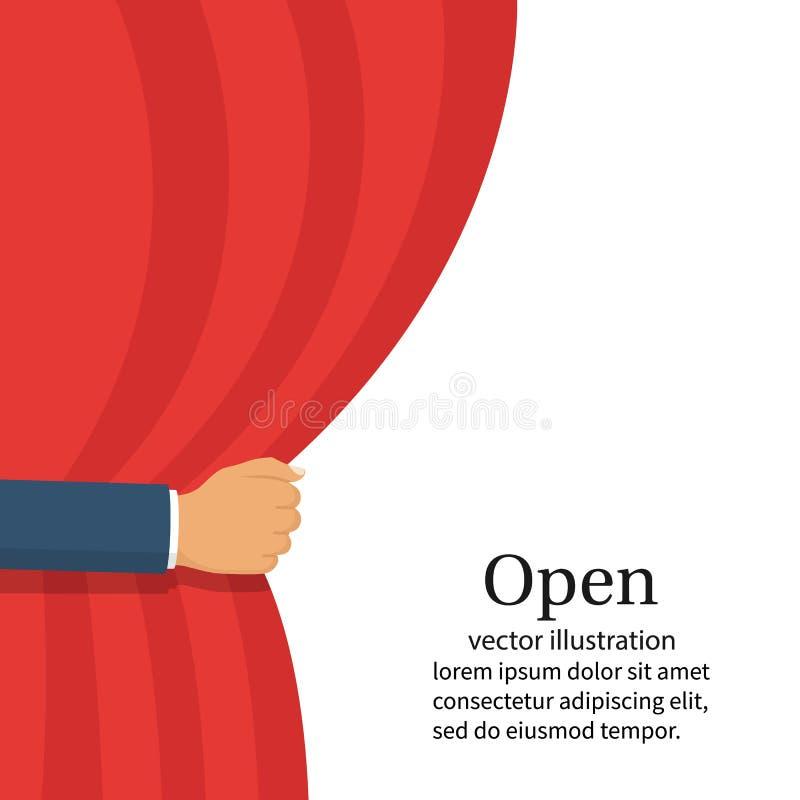 Ouvrez le rideau Main de vecteur illustration libre de droits