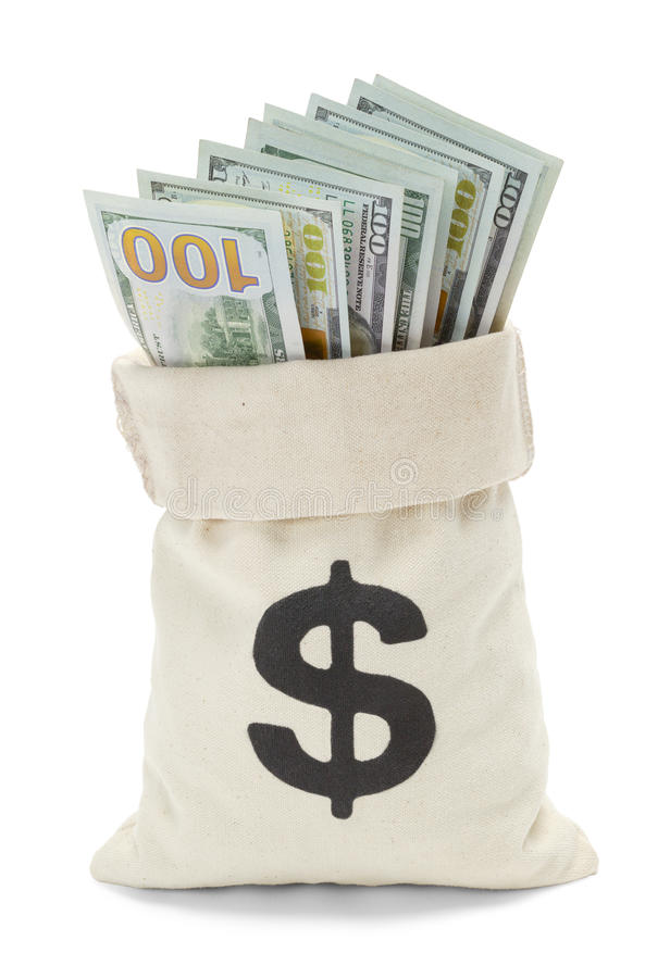 Ouvrez le sac d'argent photographie stock libre de droits