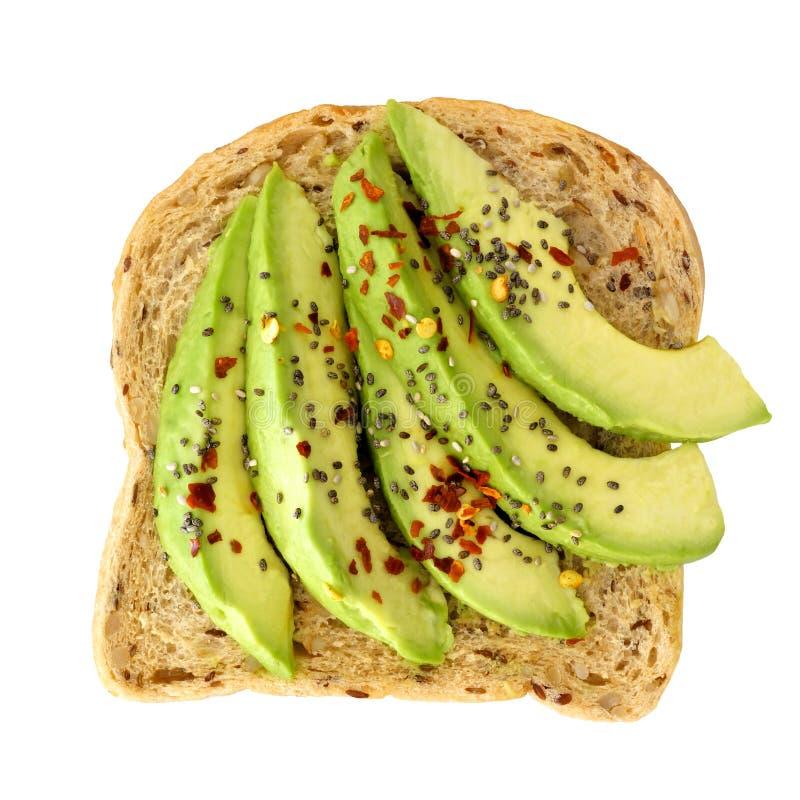 Ouvrez le sandwich à avocat avec des graines de chia d'isolement au-dessus du blanc images libres de droits