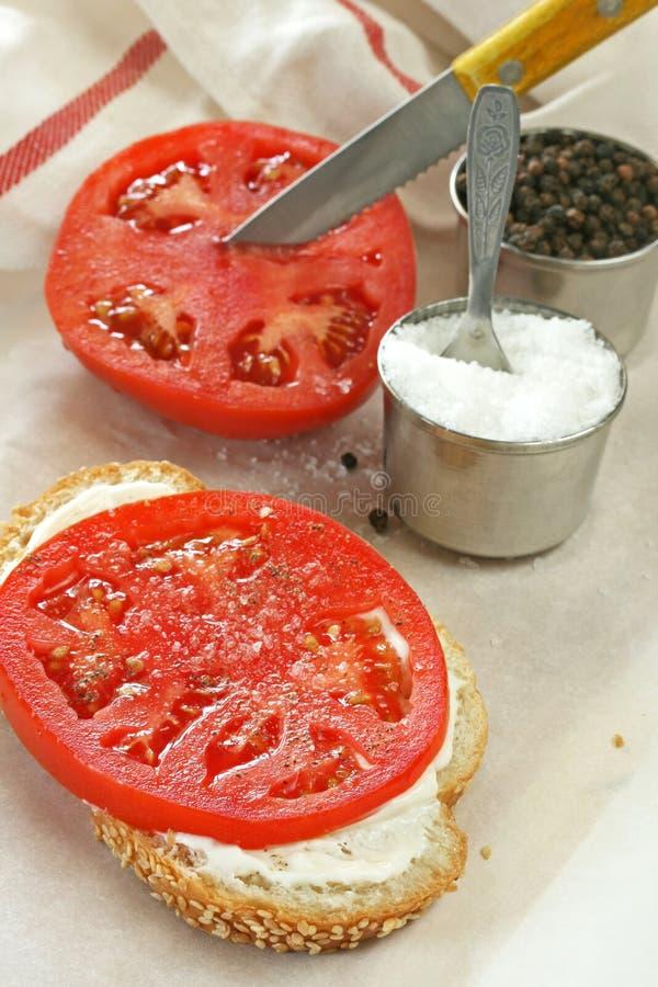 Ouvrez le sandwich à tomate de visage images libres de droits