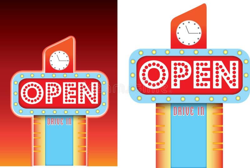 Ouvrez le signe pour la rétro publicité de style de wagon-restaurant de vintage de bord de la route illustration libre de droits