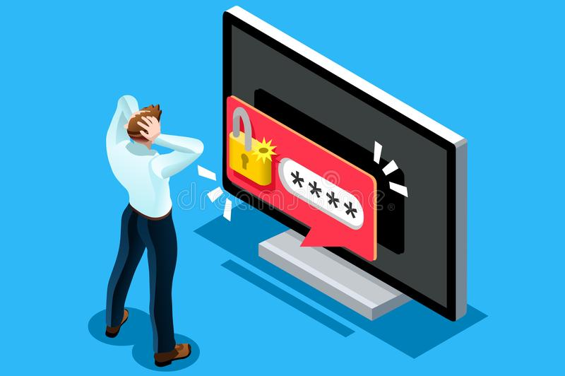 Ouvrez le spectre de sécurité de vecteur de symbole de mot de passe illustration libre de droits