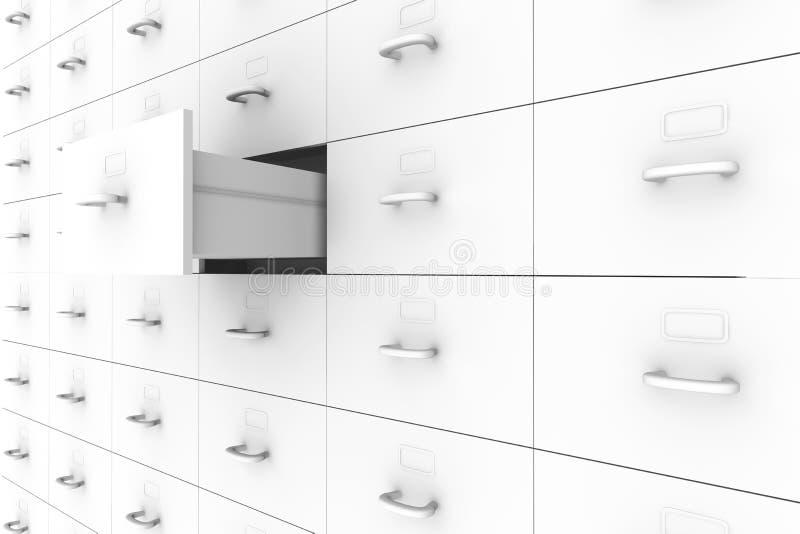 Ouvrez le tiroir - meuble d'archivage illustration de vecteur