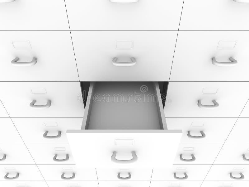 Ouvrez le tiroir - meuble d'archivage illustration stock