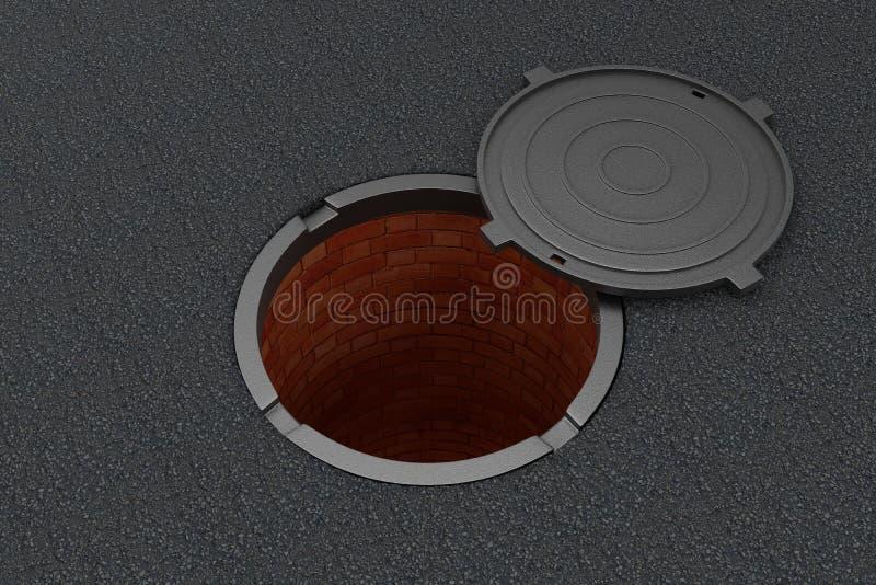 Ouvrez le trou d'homme sur l'asphalte illustration de vecteur