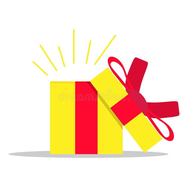 Ouvrez le vecteur de surprise de présent de boîte-cadeau Noël avec l'objet rouge de vacances de ruban Carton blanc de paquet de N illustration libre de droits