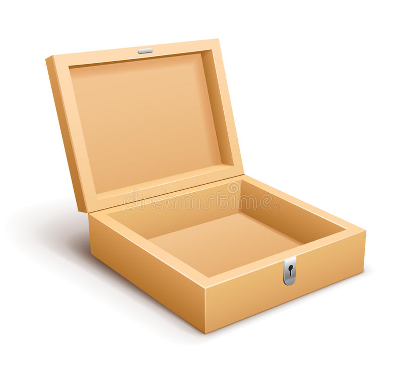 Ouvrez le vecteur vide de boîte en bois illustration de vecteur