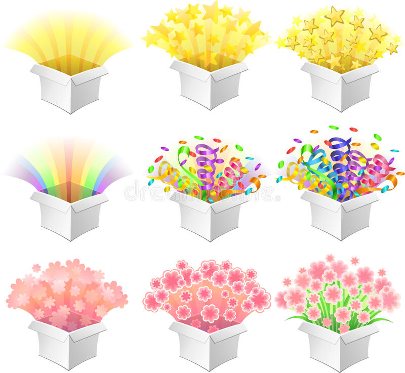 Ouvrez les boîtes. illustration stock