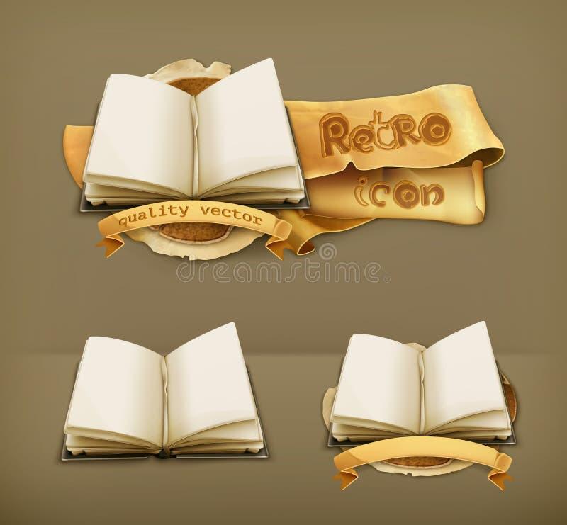 Ouvrez les livres, icônes de vecteur illustration stock