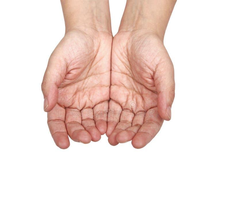 Ouvrez les mains - prier faible pour l'aide images stock