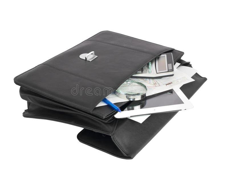 Ouvrez les objets noirs de serviette et d'affaires images stock