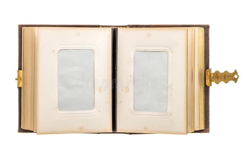 Ouvrez les pages de papier âgées d'album photos de vintage photographie stock libre de droits