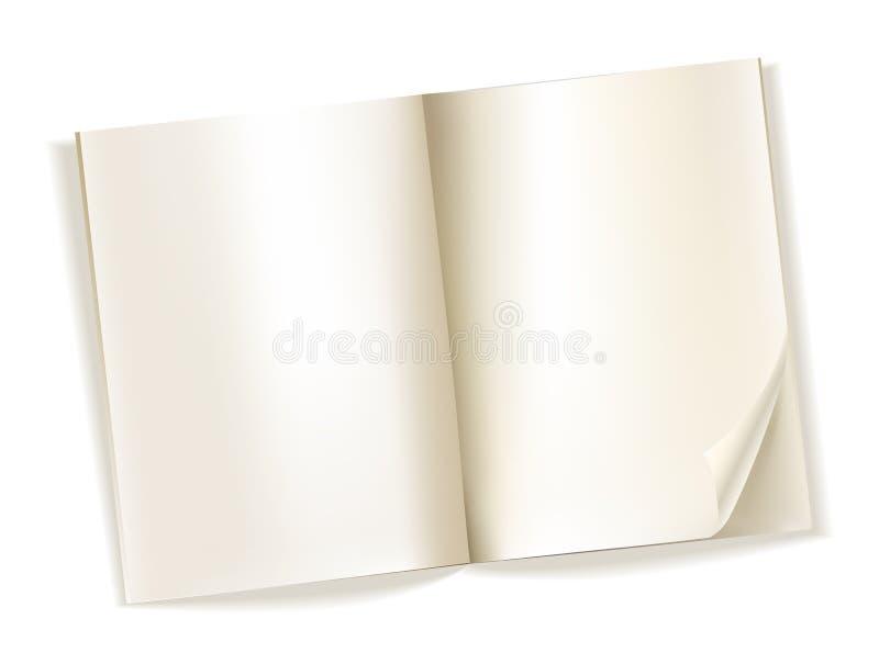 Ouvrez les pages jaunâtres de magazine vide sur le blanc illustration de vecteur