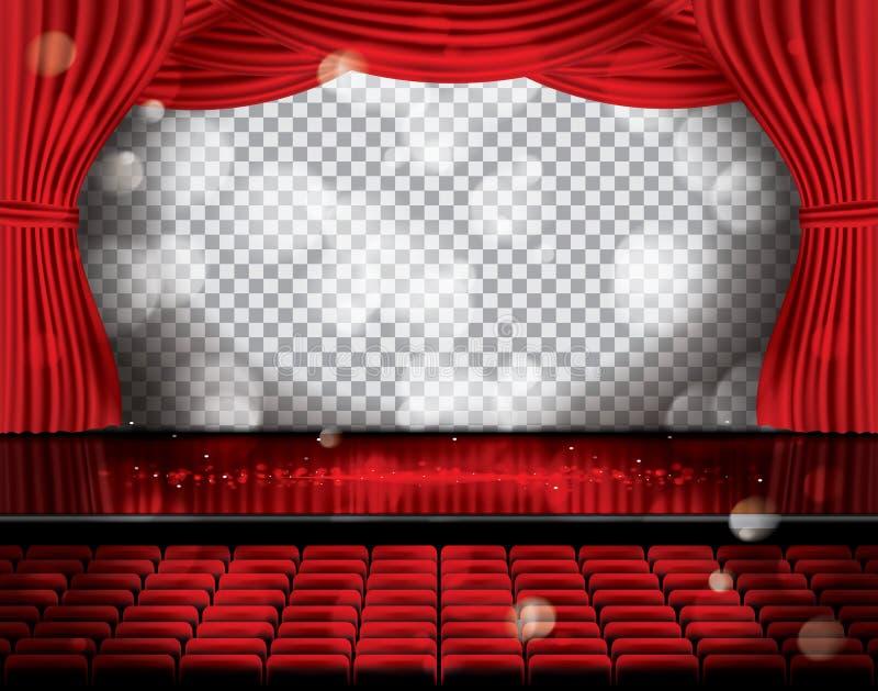 Ouvrez les rideaux rouges avec des sièges et copiez l'espace sur la grille transparente illustration de vecteur