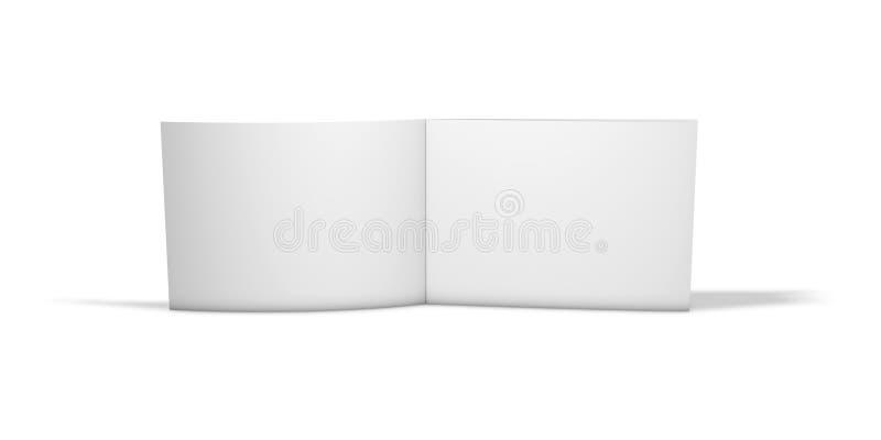 Ouvrez longtemps la brochure horizontale de deux pages se tenant sur le plancher d'isolement sur le fond blanc illustration libre de droits