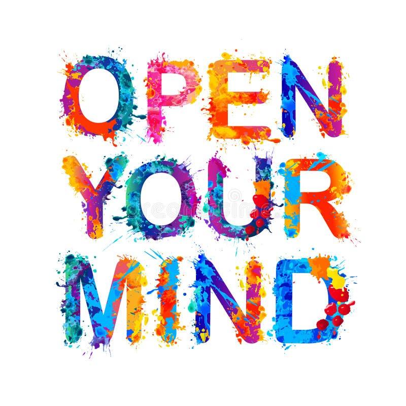 Ouvrez votre esprit Lettres de peinture d'éclaboussure illustration stock